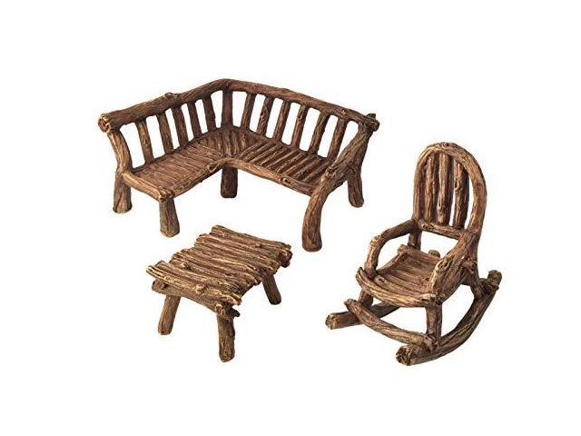 Excellent Glitzglam Miniature Fairy Garden Furniture 3Piece Rustic Wood Bench Rocking Chair And Miniature Table For The Garden Fairies Newegg Com Bralicious Painted Fabric Chair Ideas Braliciousco