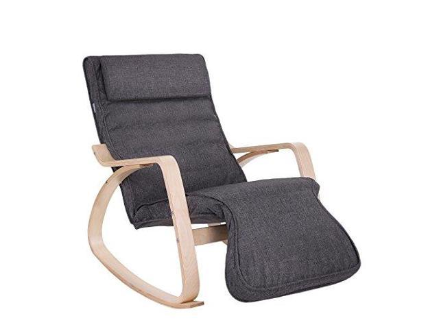 Astounding Songmics Rocking Relaxing Lounge Chair Solid Wood Recliner Creativecarmelina Interior Chair Design Creativecarmelinacom
