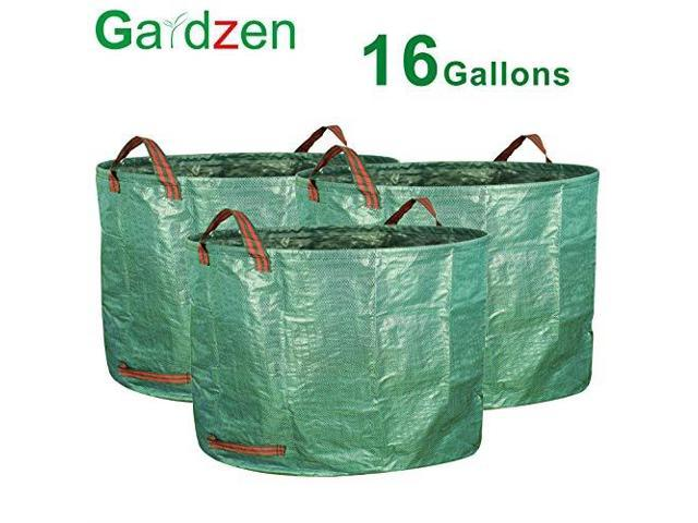 Gardzen 3pack 16 Gallons Garden Bag Reuseable Heavy Duty Gardening Bags Lawn Pool Leaf Waste Newegg