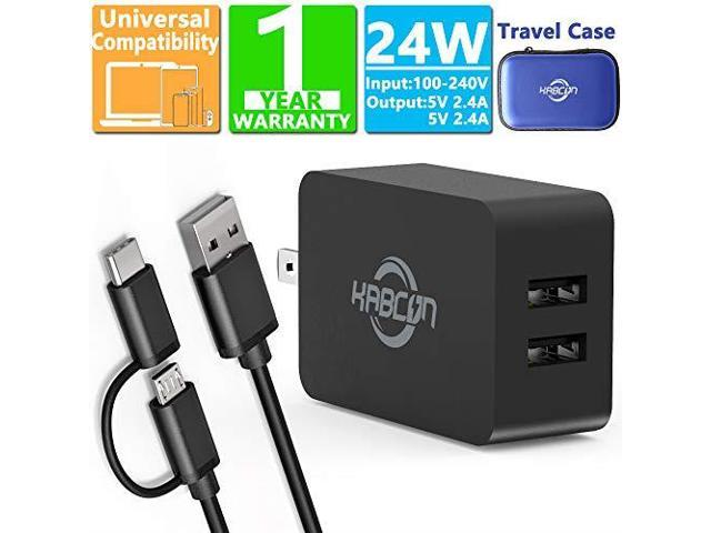 Kindle Fire Fast Charger 5V 24A AC Adapter with MicroUSB Cable for Amazon  Kindle Fire HD HDX 6 7 89 97 Fire 7 8 10 TabletPhone Dual Port Wall