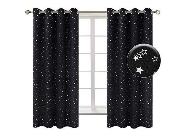 BGment Star Kids Bedroom Blackout Curtains Grommet Thermal Insulated Print  Room Darkening Living Room Curtain Set of 2 Panels 38 x 45 Inch Blue - ...