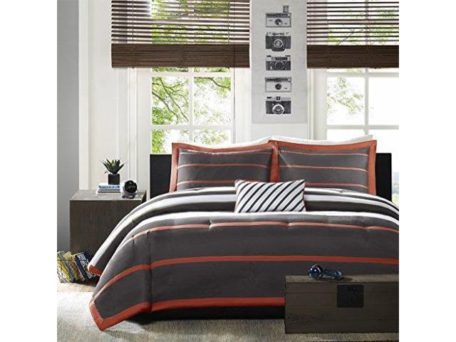 MiZone Ashton TwinTwin XL Kids Bedding Sets for Boys Orange Grey Stripes 3  Pieces Boy Comforter Set Ultra Soft Microfiber Kid Childrens Bedroom ...