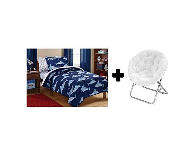 Groovy Mainstays Kids Blue Sharks 5 Piece Bed In A Bag In Twin Size 225 Lbs Capacity Saucer Folding Chair Faux Fur Fabric In White Bundle Set Newegg Com Beatyapartments Chair Design Images Beatyapartmentscom