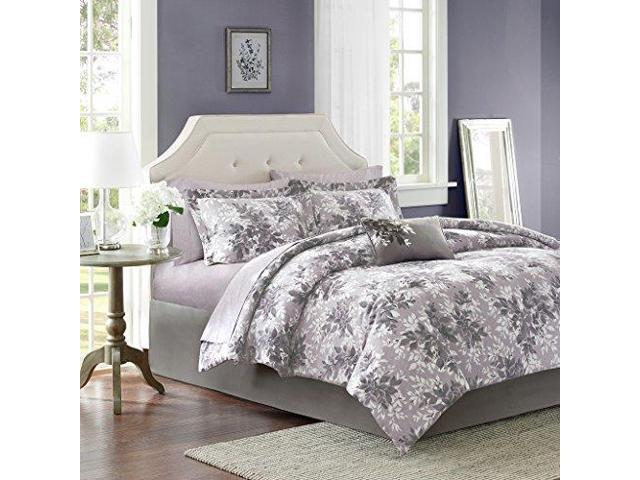 Madison Park Essentials Shelby Comforter Set Twin Size Bed In A Bag Purple Floral 7 Piece Bed Sets Ultra Soft Microfiber Teen Bedding For Girls