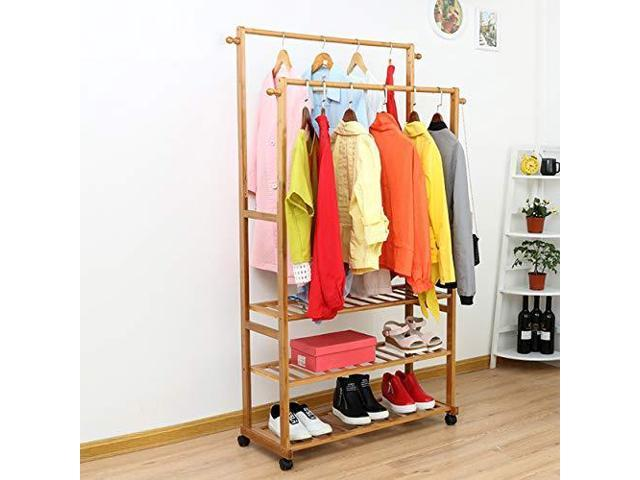 AllBombuu Combination Bamboo Garment Rack with 3 Tier Storage Shelf Mobile  Coat Rack for ShoesShoes Boxes Rolling Clothes Organizer Boxs Bedroom ...