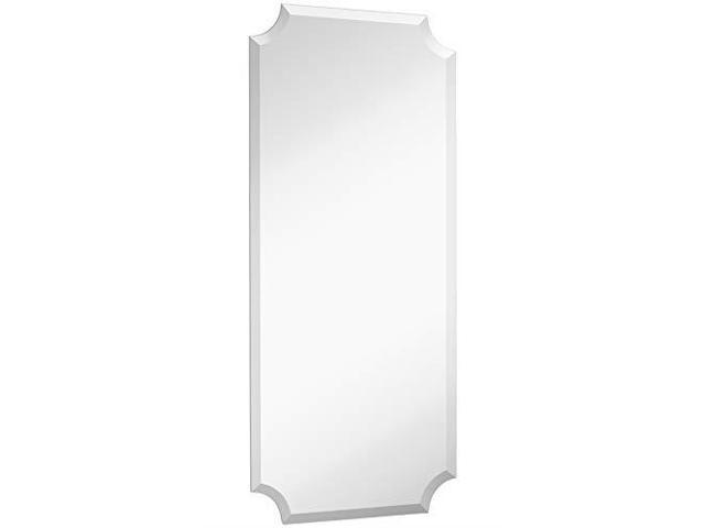 Beveled Scalloped Edge Rectangular Wall Mirror   1 inch Bevel Curved  Corners Rectangle Mirrored Glass Panel for Vanity Bedroom or Bathroom Hangs
