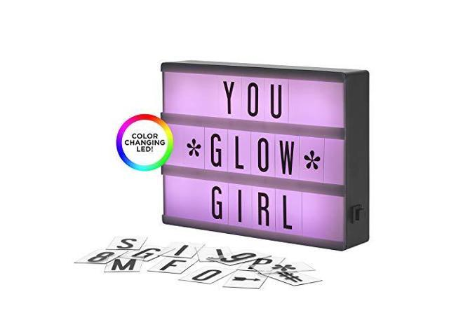My Cinema Lightbox The Mini ColorChanging LED Marquee with 100 Letters amp  Numbers to Create Your Own Sign with Classic White RGB Color Change and