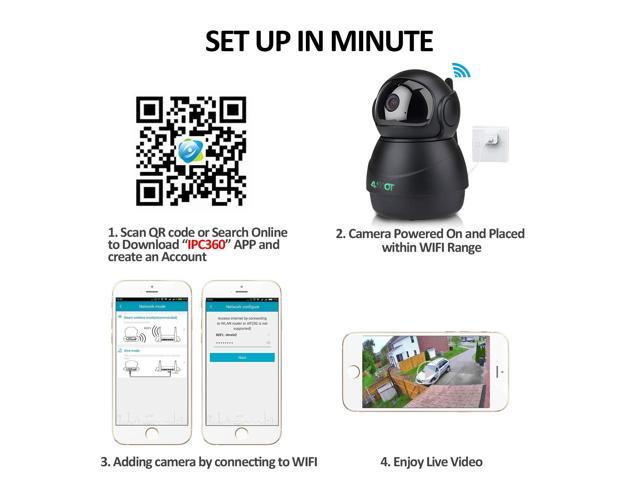 Wireless IP Camera 1080P,Nanny Cam,360 Degree Smart WiFi Camera 3D  Navigation Panorama View Night Vision,Cloud Storage,Motion  Detection,Two-Way Audio