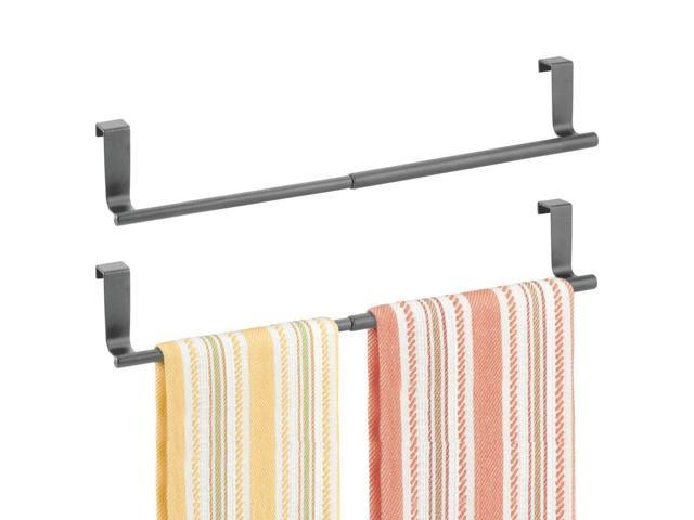 Mdesign Adjule Expandable Kitchen Over Cabinet Towel Bar Rack Hang On Inside Or Outside Of Doors Storage For Hand Dish Tea Towels 9 25 To