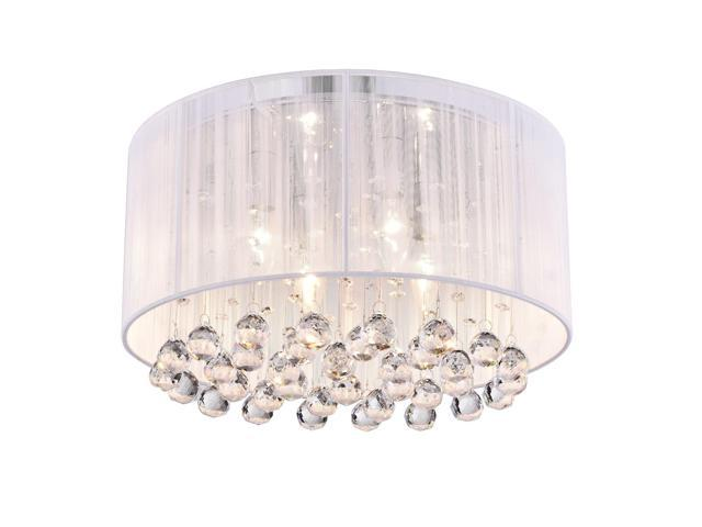 Edvivi Belle 4 Light Chrome Finish With White Thread Wred Drum Shade Flush Mount Chandelier Ceiling Fixture Hanging Crystals Glam Lighting