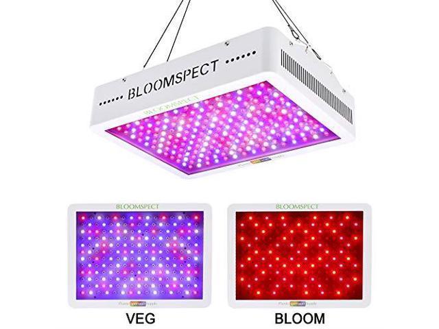 BLOOMSPECT 600W LED Grow Light Full Spectrum for Indoor Hydroponics  Greenhouse Plants Veg and Bloom 60pcs 10W LEDs - Newegg com