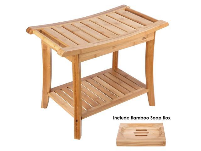Sensational Homecho Bamboo Bath Shower Bench Seat Stool With 1 Soap Box For Spa Bathing And 2 Tier Storage Shelf With 2 Handles For Indoor And Outdoor Hmc Ba 001 Onthecornerstone Fun Painted Chair Ideas Images Onthecornerstoneorg
