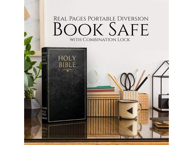 Real Pages Portable Diversion Book Safe with Combination Lock - Hollowed  Out Book with Hidden Secret Compartment for Jewelry, Money and Cash (Bible)