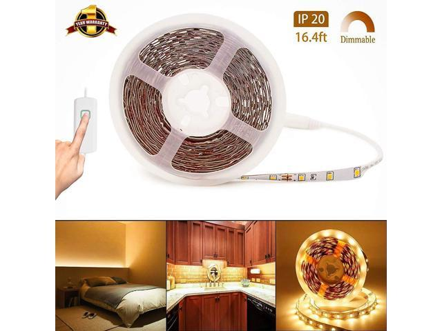 buy popular 9de89 5f23d LED Light Strip 12V LED Rope Lights Warm White Dimmable LED Strip Lights  16.4ft Under Cabinet Lighting Non-Waterproof UL Power 2835 LED Tape Light  for ...