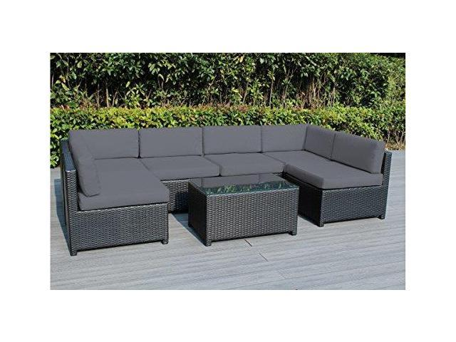Ohana Mezzo 7piece Outdoor Wicker Patio Furniture Sectional Conversation Set With Weather Resistant Cushions Turquoise04 Newegg