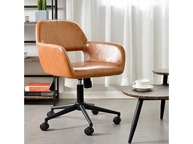 Awe Inspiring Vintage Office Chair Mid Back Swivelrollingtilting Accent Adjustable Computer Desk Armchair Brown Pu Leather Reception Chair For Home Executive Ch03 Gamerscity Chair Design For Home Gamerscityorg