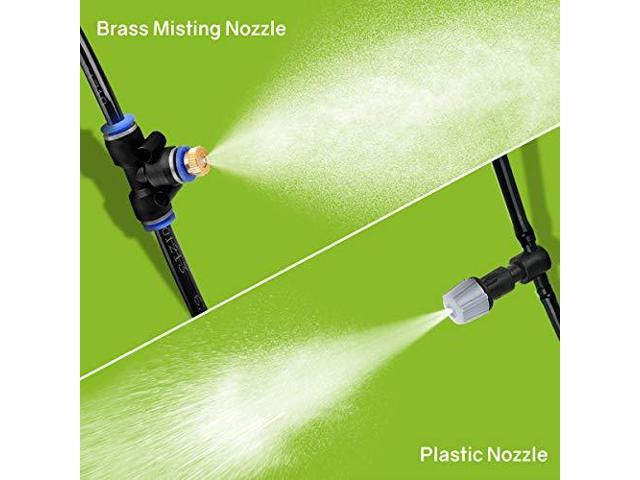 59ft(18M) Patio Misting Kit with 19 Brass Mist Nozzles for Patio Garden Greenhouse Trampoline for Waterpark Outdoor Misting Cooling System