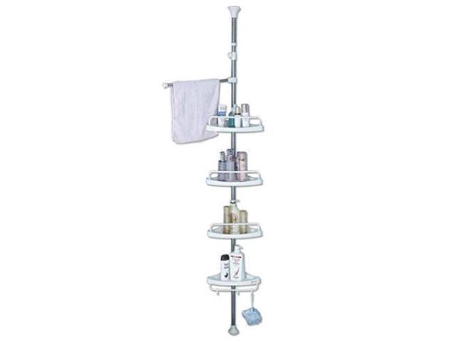 4 Shelf Shower Corner Tension Pole Caddy Organizer Bathroom Bath Storage Rack