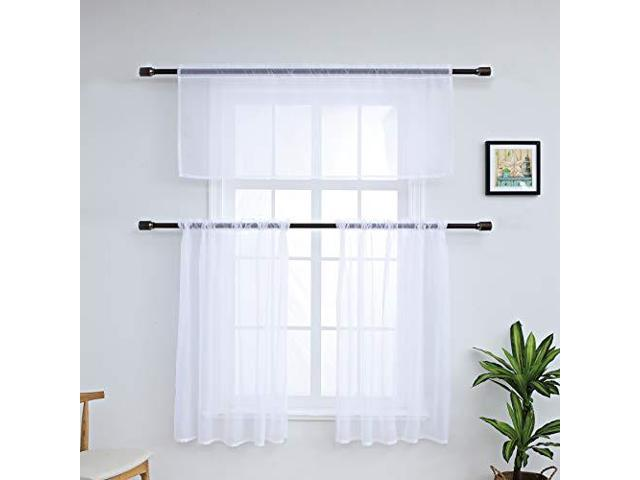 3 Pieces Erfly Kitchen Sheer Curtains Tier And Valance Set Printed Plant Short Curtain For Living Room Bedroom Rod Pocket Top Drape