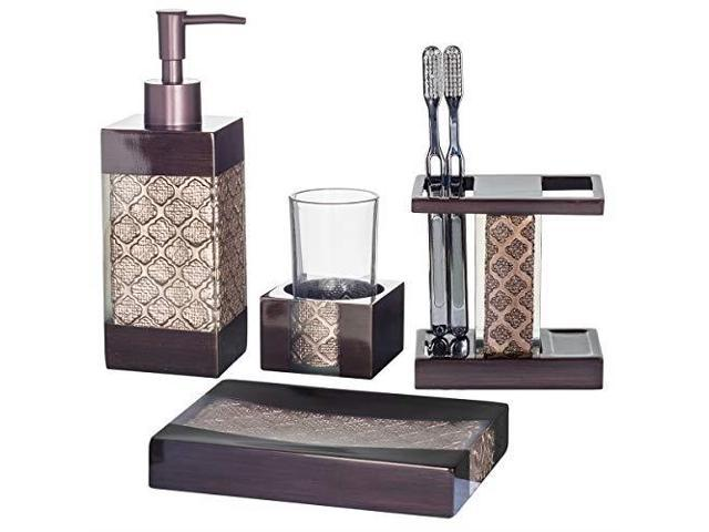 Groovy Dahlia 4Piece Bathroom Accessories Set Decorative Bath Accessory Kit With Soap Dispenser Toothbrush Holder Soap Dish And Tumbler Rustresistant Beutiful Home Inspiration Ommitmahrainfo