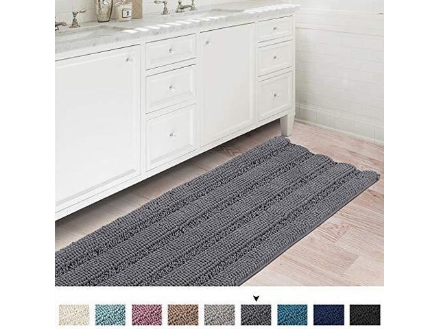 Shaggy Chenille Bathroom Rug Mat Kitchen Rugs and Mats Non Slip Bathroom  Rug Thick Soft Microfiber Bath Rug Carpet 32x20 Inch Washable Super  Absorbent ...