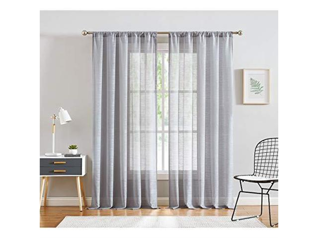 Linen Sheer Valance Curtains for Kitchen Short Flax Blend Kitchen Valances  for Bathroom Living Room 56quot w x 15quot Natural 1 Panel - Newegg.com