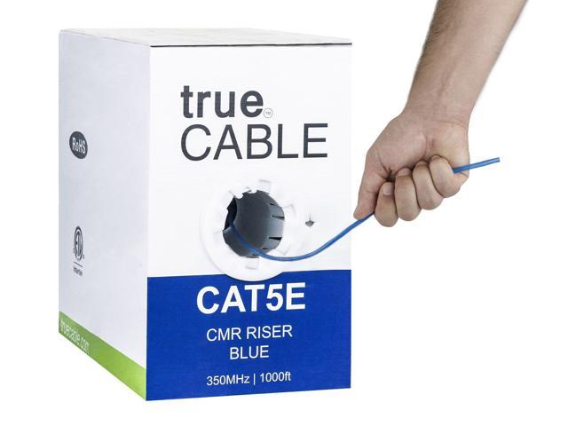 1000FT CAT5e CMR Ethernet UTP Cable Blue SOLID BARE COPPER 24 AWG