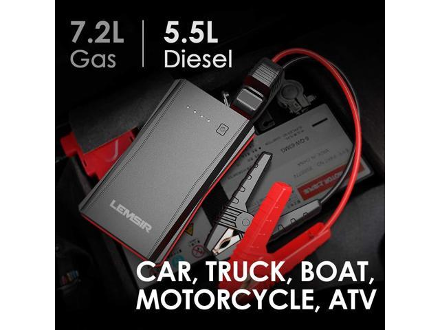 LEMSIR QDSP 800A Peak Portable Car Lithium Jump Starter up to 7.2L Gas or 5.5L Diesel Auto Battery Booster Power Pack with Smart Jumper Cables V8