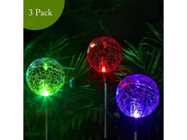 Solpex Solar Globe Lights Outdoor Cracked Glass Ball Dual Led Garden Lights Color Changing Outdoor Landscape Garden Light Decoration Garden Decor