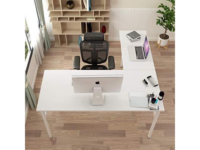 Lshaped Desk Large Corner Desk Folding Table Computer Desk Home Office Table Computer Workstation White Dndnd11ww Newegg Com