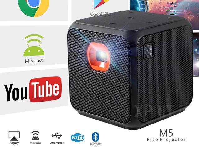 70c58f4df6e13e XPRIT Portable Projector Home Theater WiFi Bluetooth Mini Projector Android  7.1 Black