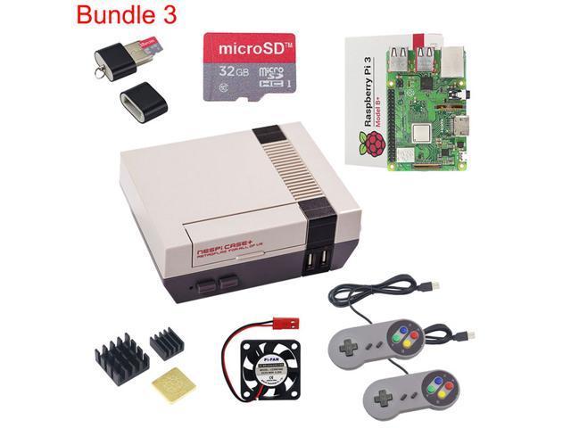 New NESPi CASE+ Raspberry Pi 3 Model B+ Kits + 32GB SD Card + 3A Power  Adapter + Heat Sink + 2 Gamepad Controller for Retropie - Newegg com