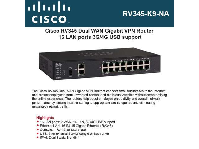 Cisco RV345-K9-NA Dual WAN Gigabit VPN Routers - Newegg com