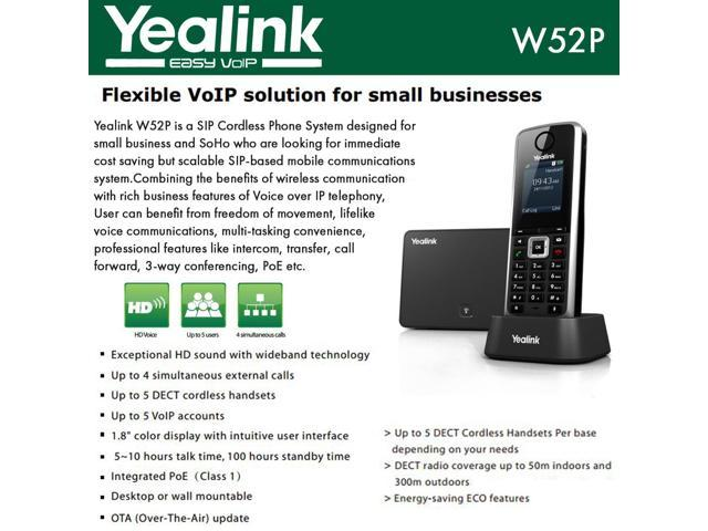 Yealink W52P 5 Line VoIP SIP Cordless Business HD IP DECT Phone w 3 Handsets