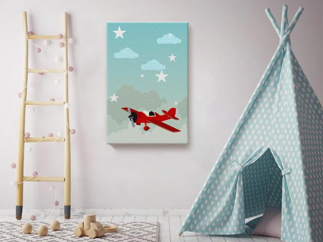 Awkward Styles Plane Canvas Wall Art Nursery Room Baby Boy Decor Decorations Ready To Hang Picture Newborn