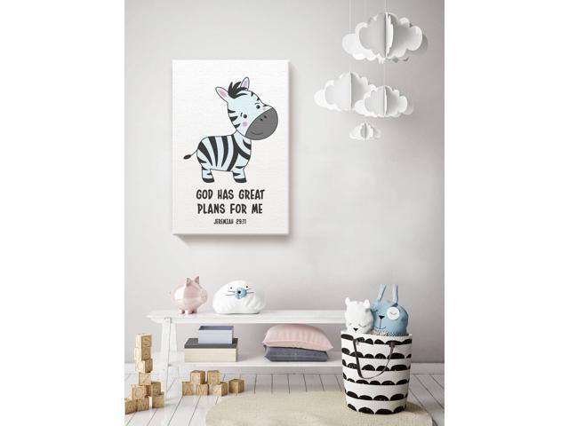 Awkward Styles God Has Great Plans For Me Zebra Canvas Animals Illustration Bible Verses For Kids Nursery Room Wall Art Baby Room Decor Nursery Room