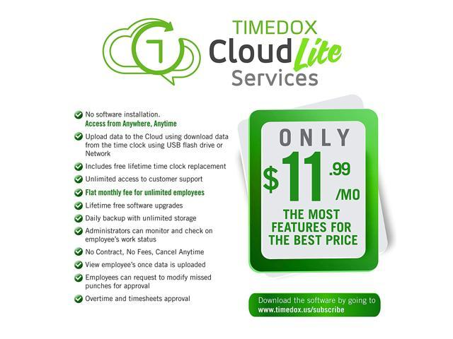 Timedox Silver | Biometric Fingerprint Time Clock | Upload Data To The  Cloud Lite Using The USB Flash Drive Included | Automatic Reports Online |