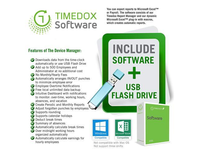 Timedox Biometric Silver X Time Clock | Fingerprint Scanner Time Clock | NO  Monthly Fees | Paperless | Software one time payment  - Newegg com