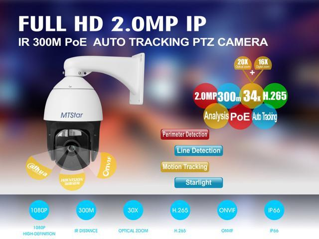 MTStar PoE IP smart auto tracking and analysis PTZ Camera 1080p night  vision action camera 20x optical zoom ip camera security system - Newegg com