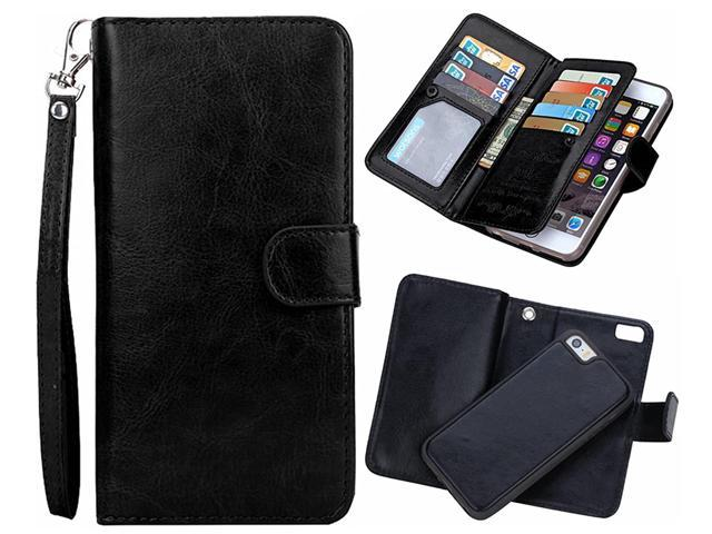 21ae218a73c0 iPhone 6 plus/6S Plus 2 in 1 Wallet Case,Hynice Folio Flip PU Leather Case  Magnetic Detachable Slim Back Cover Card Holder Slot Wrist Strap Wallet for  ...