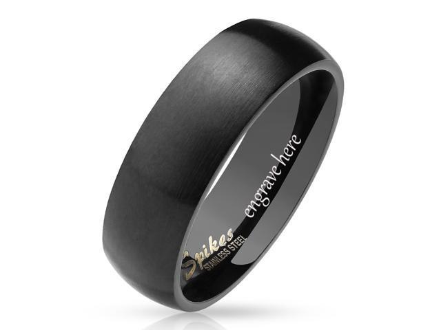 Dome Black Titanium Ring Silver Titanium Engagement Band Free Engraving Mens Promise Ring 8mm Titanium Fish and Hooks Ring
