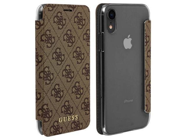 catch the sale of shoes high quality Guess Monogram 4G iPhone XR Case, Card Holder Wallet - Brown