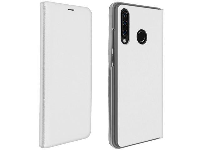 Flip Book cover, wallet case with stand for Huawei P30 Lite - White
