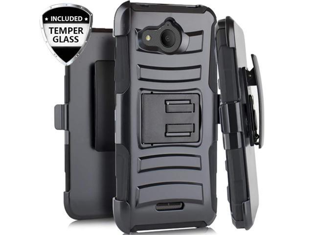new style c7c61 6ae69 Alcatel Tetra Case with Tempered Glass Screen Protector, SOGA Belt Clip  Holster Rugged Armor Shock Proof Phone Cover Shockproof Compatible for  Alcatel ...
