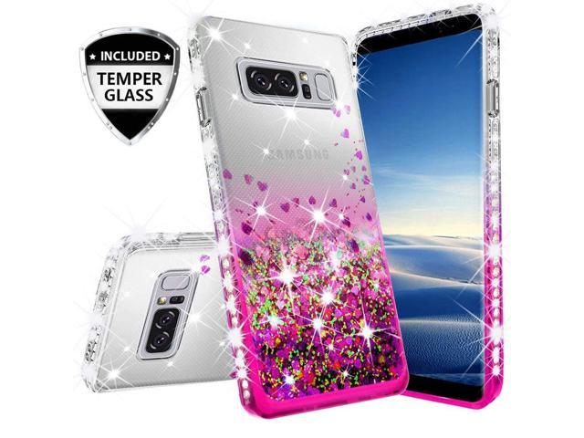 online store 60f5f 4bfc0 Compatible for Samsung Galaxy Note 8 Case, with [Temper Glass Screen  Protector] SOGA Diamond Glitter Liquid Quicksand Cover Cute Girl Women  Phone Case ...