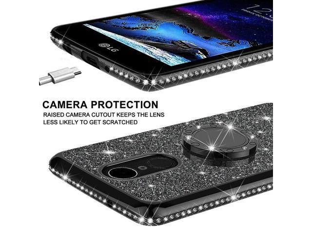 LG Stylo 4 Case, LG Stylo 4 Plus Case, LG Q Stylus Case, SOGA Glitter  Diamond Rhinestone TPU Phone Cover with Ring Stand and Lanyard Girls Women  Cover