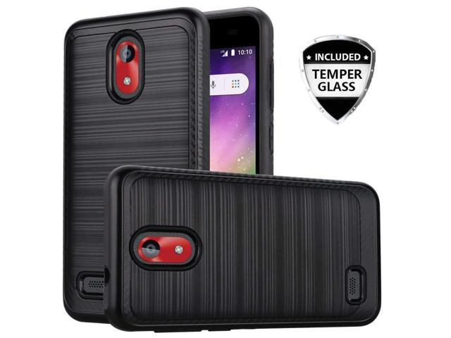 Compatible for Coolpad Illumina Case, with [Temper Glass Screen Protector]  SOGA Hybrid Dual Layer Brushed Shockproof Armor Protective Phone Cover for