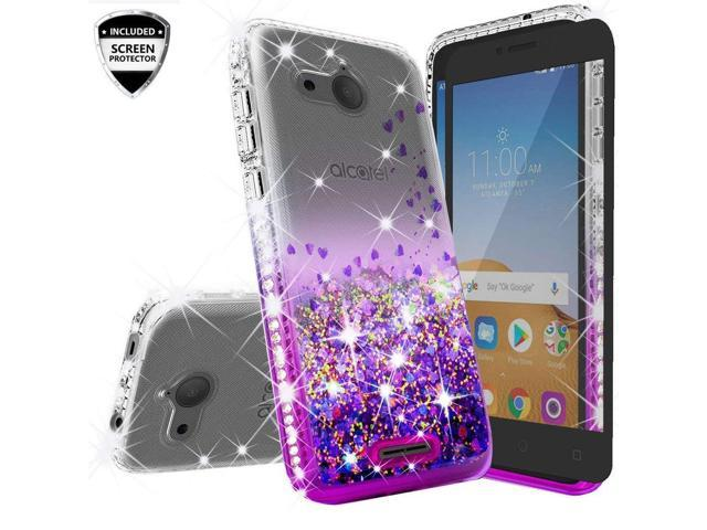 Compatible for Alcatel Tetra /5041C Case, with [Temper Glass Screen  Protector] SOGA Rhinestone Liquid Quicksand Cover Cute Girl Phone Case -
