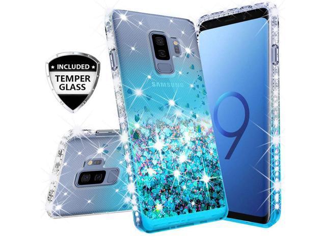 Compatible for Samsung Galaxy J2 Case, J2 Core Case, J2 Dash Case, J2 Pure  Case, with [Temper Glass Screen Protector] SOGA Rhinestone Liquid Quicksand