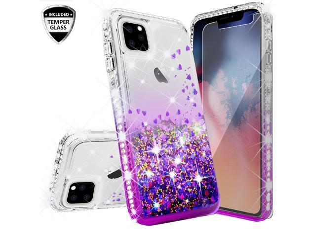 Compatible for Apple iPhone 11 Pro Max (6.5)Case, with [Tempered Glass  Screen Protector] SOGA Diamond Liquid Quicksand Cover Cute Girl Women Phone